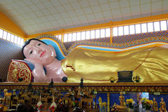 Sleeping Buddha Statue. At Wat Chaiya Mangkalaram Temple Penang royalty free stock photo