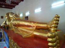 Sleeping Buddha. In the temple at Nakhonpathom province in Thailand Stock Photography