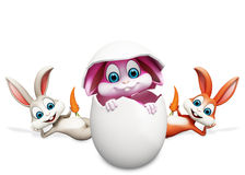 Sleeping bunny with bunny inside egg Stock Photography