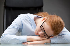 Sleeping Business Assistant or Secretary Stock Photos