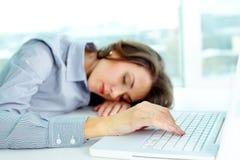 Sleeping business girl stock photos