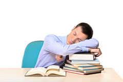 Sleeping businessman and books. Isolated on white background Royalty Free Stock Photos
