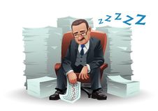 Sleeping Businessman. Tired old businessman sleeping on his chair, surrounded by paper piles Royalty Free Stock Images