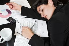 Sleeping Businesswoman Stock Photography
