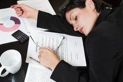 Sleeping Businesswoman stock photography