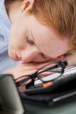 Sleeping Businesswoman - Closeup Stock Photography