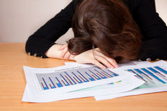Sleeping businesswoman with financial report Royalty Free Stock Photo