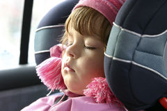 Sleeping in a car Royalty Free Stock Photos