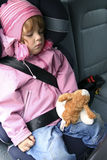 Sleeping in a car. Child sleeping in a car Royalty Free Stock Photos