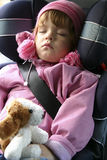 Sleeping in a car. Child sleeping in a car Stock Photo