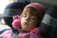 Sleeping in a car. Child sleeping in a car Royalty Free Stock Photo