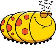 Sleeping Cartoon Caterpillar Royalty Free Stock Images