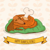 Sleeping cartoon dog with turkey leg on autumn floral background Stock Photography