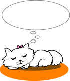 Sleeping cat. A vector, illustration for a sleeping cat and having a dream Royalty Free Stock Image