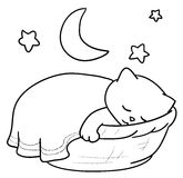 Sleeping cat. A cute cat sleeping inside a basket. Vector black and white illustration Stock Photo