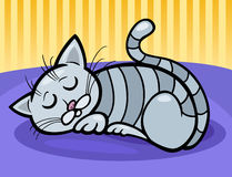 Sleeping cat cartoon illustration Stock Photos