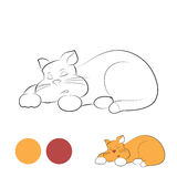 Sleeping cat for coloring Stock Image