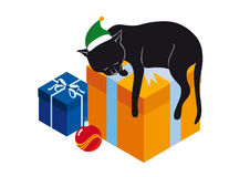 Sleeping cat and gifts. Vector illustration on a white background. Festive vector background. Funny vector illustration. Christmas cat sleeping. Christmas vector Stock Photo