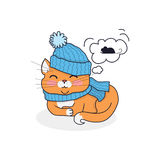 Sleeping Cat in Hat and Scarf Design Stock Image