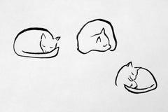 Sleeping cat. Ink drawing of sleeping cat Royalty Free Stock Photo