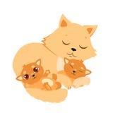 Sleeping Cat And Kitten. Sweet Kitty Cartoon Vector Card. Stock Photos
