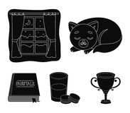 Sleeping cat, night outside the window, milk and biscuits, fairy tales. Rest and sleep set collection icons in black. Style vector symbol stock illustration Royalty Free Stock Photography