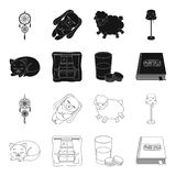 Sleeping cat, night outside the window, milk and biscuits, fairy tales. Rest and sleep set collection icons in black. Outline style vector symbol stock Stock Photography