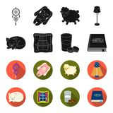 Sleeping cat, night outside the window, milk and biscuits, fairy tales. Rest and sleep set collection icons in black. Flet style vector symbol stock Royalty Free Stock Photography