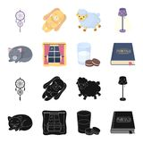 Sleeping cat, night outside the window, milk and biscuits, fairy tales. Rest and sleep set collection icons in black. Cartoon style vector symbol stock Stock Photo