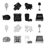 Sleeping cat, night outside the window, milk and biscuits, fairy tales. Rest and sleep set collection icons in black. Monochrome style vector symbol stock Stock Photo