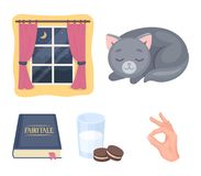 Sleeping cat, night outside the window, milk and biscuits, fairy tales. Rest and sleep set collection icons in cartoon. Style vector symbol stock illustration Royalty Free Stock Photos