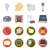 Sleeping cat, night outside the window, milk and biscuits, fairy tales. Rest and sleep set collection icons in cartoon. Flat style vector symbol stock Royalty Free Stock Images