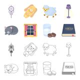 Sleeping cat, night outside the window, milk and biscuits, fairy tales. Rest and sleep set collection icons in cartoon. Outline style vector symbol stock Royalty Free Stock Photos