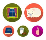 Sleeping cat, night outside the window, milk and biscuits, fairy tales. Rest and sleep set collection icons in flat. Style vector symbol stock illustration Royalty Free Stock Photo