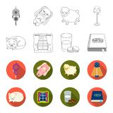 Sleeping cat, night outside the window, milk and biscuits, fairy tales. Rest and sleep set collection icons in outline. Flet style vector symbol stock Royalty Free Stock Photography