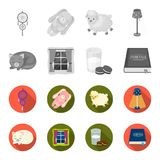 Sleeping cat, night outside the window, milk and biscuits, fairy tales. Rest and sleep set collection icons in. Monochrome,flat style vector symbol stock Stock Photography
