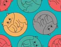 Sleeping cat seamless pattern. Home pet sleeps background. Textu Royalty Free Stock Photography