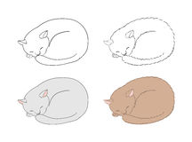 Sleeping cats. Hand drawn vector illustration of sleeping curled up cats, unfilled outlines and coloured. Isolated objects on white background. Design concept vector illustration