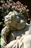 Sleeping cherub. Carving of an cherub asleep in a garden Royalty Free Stock Images