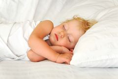 Sleeping child. Child of two years sleep in bed Royalty Free Stock Photography
