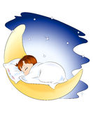 Sleeping child. An illustration of cute little child sleeping on the moon, surrounded by stars in the night sky. Isolated on white Royalty Free Illustration