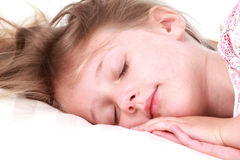 Sleeping child. Cute toddler sleeping on a white pillow Stock Images