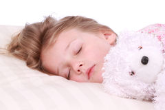 Sleeping child. Cute toddler sleeping on a white pillow Royalty Free Stock Photo