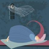 Sleeping Child. In long nightcap Stock Photo