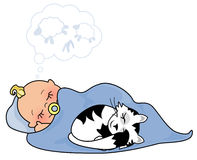 Sleeping Child. Illustration of a child and kitty cat sleeping Stock Photography