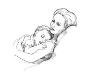 Sleeping child. And mother illustration Stock Photo