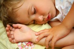 Sleeping child. Close-up of a sleeping child Royalty Free Stock Photos