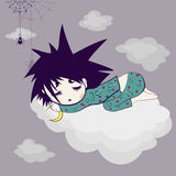 Sleeping child. Cartoon, the child sleeps on the top of the cloud Stock Image