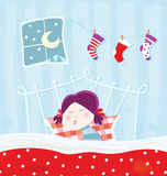 Sleeping child during christmas night. Cute girl is sleeping in bed. Vector Illustration Stock Photos