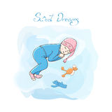 Sleeping child. Sleeping girl with toys. Poster little girl. Sweet dreams card. little kid in blue pajamas and a pink hat Stock Photography